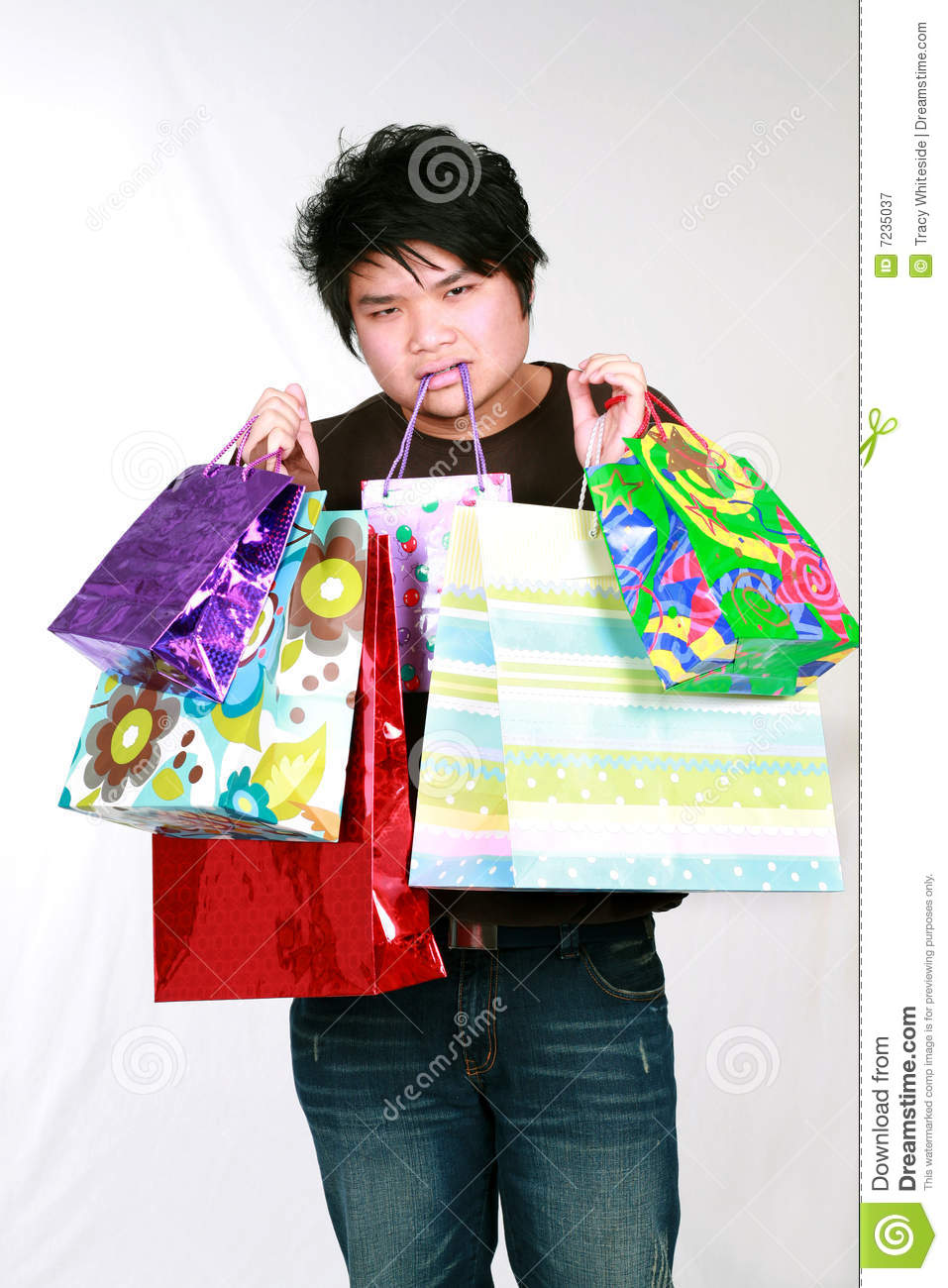 Asian Teen Boy With Shopping Bags Royalty Free Stock -6834
