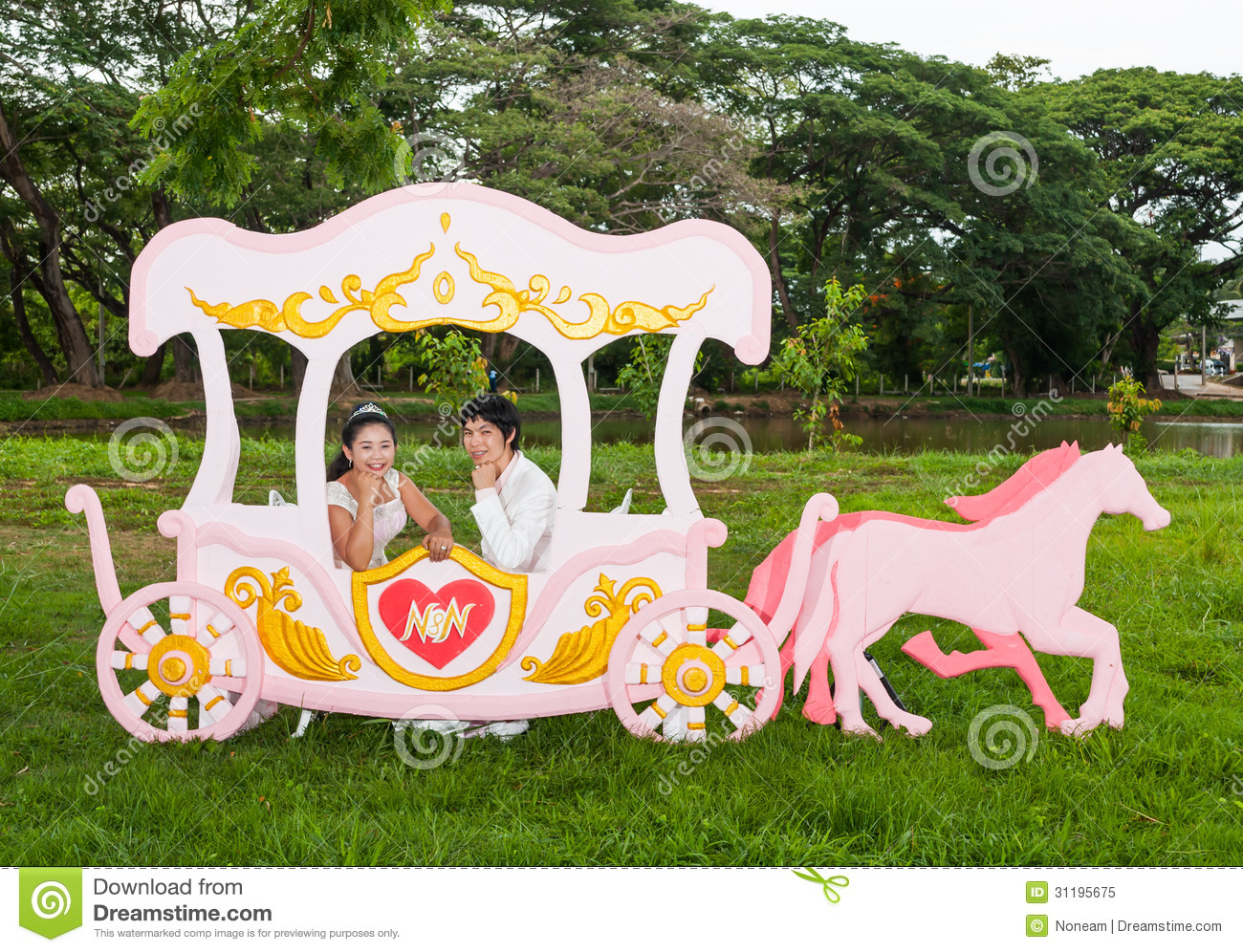 Asian Thai Bridal In Love Carriage Royalty Free Stock Theme As The Princess