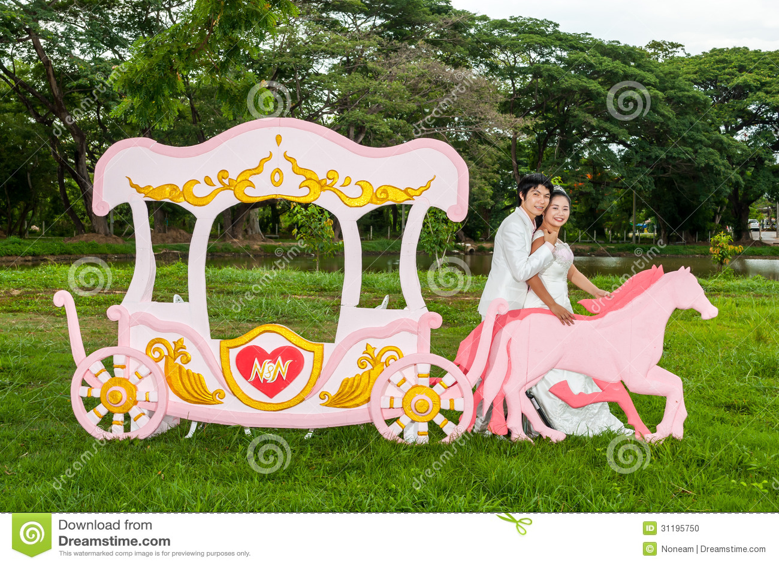 Asian Thai Bridal Beside Love Carriage Stock Photo Image Theme As The Princess