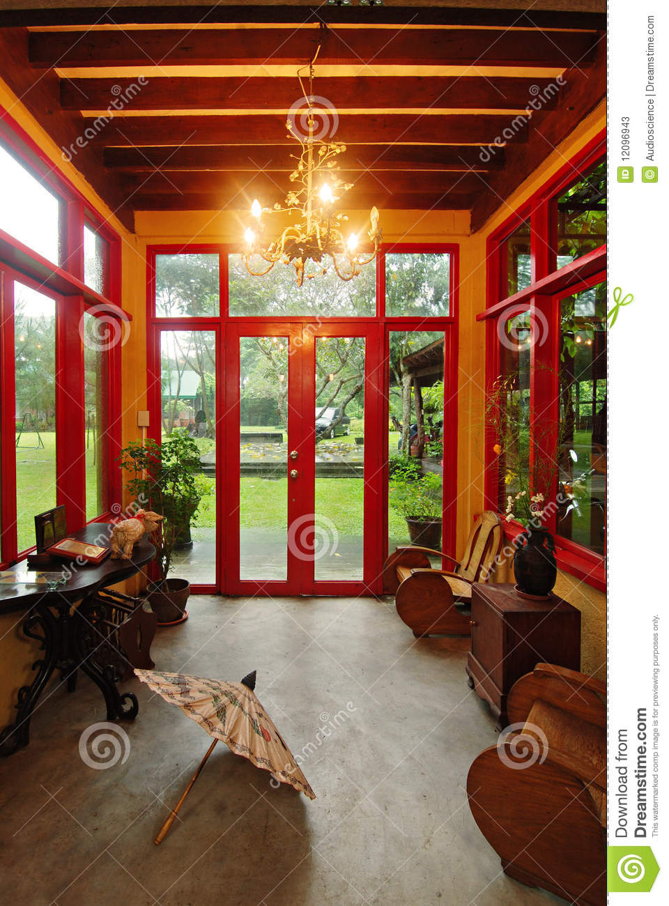 Asian Themed Room With A View Stock Image - Image of ...
