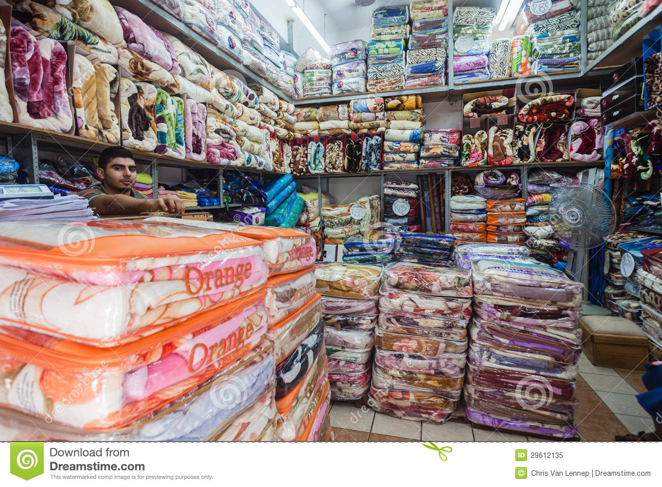 asian trading blankets store editorial image image 29612135
