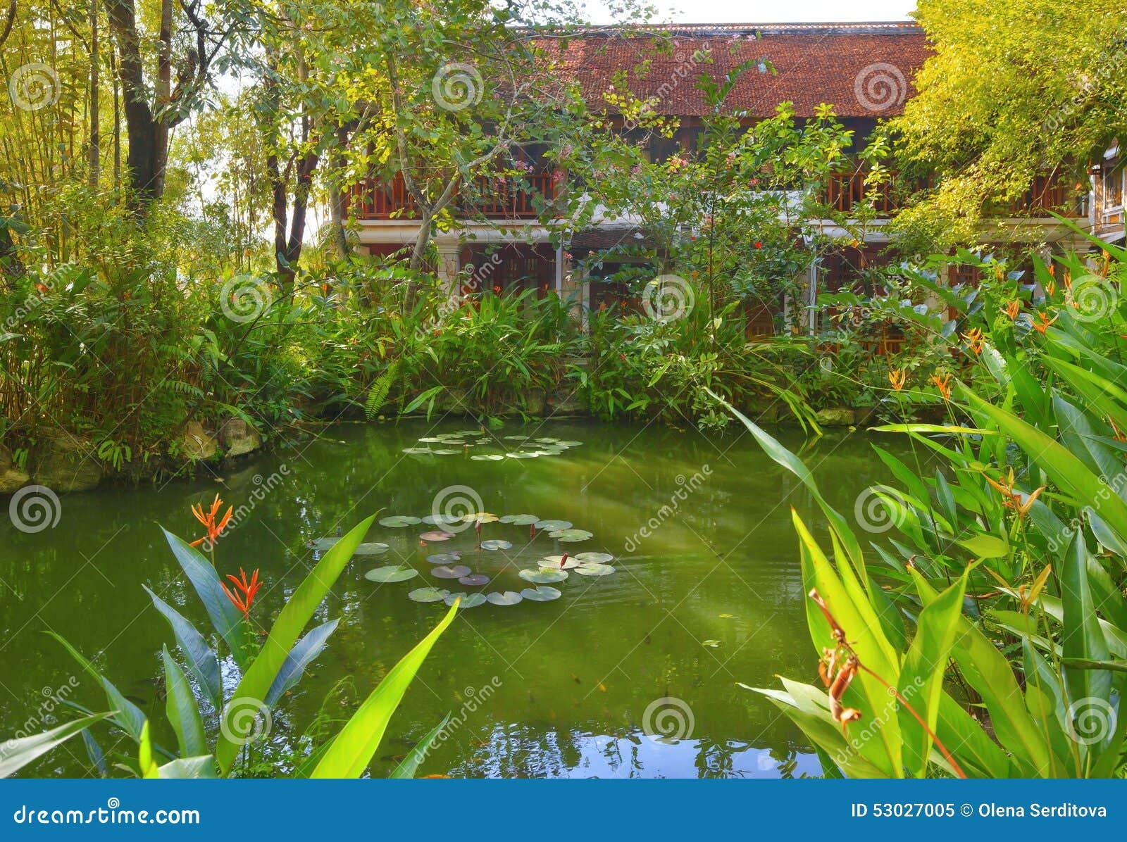 Asian tropical garden stock photo image 53027005 for Garden pool hanoi