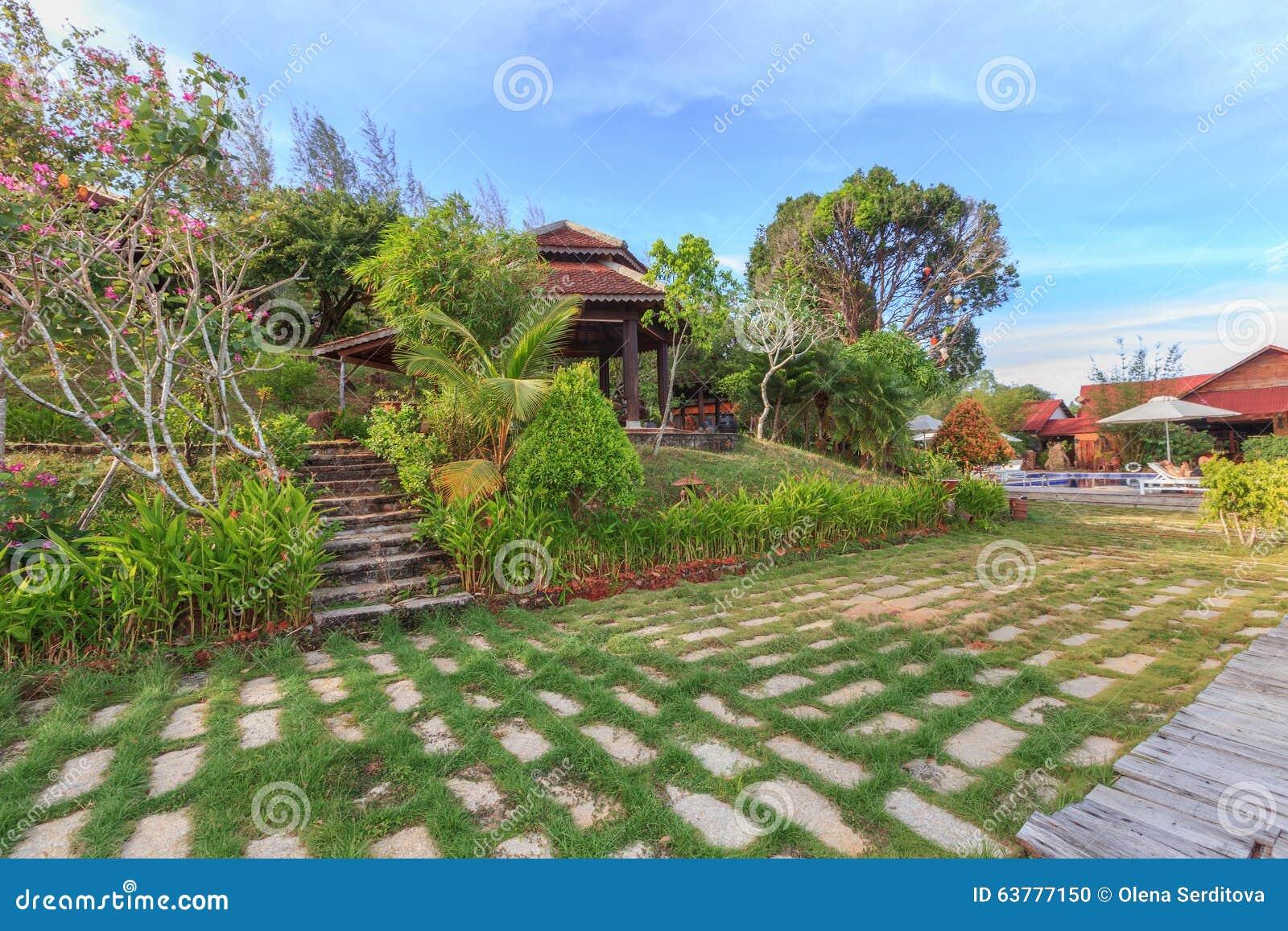 Asian Tropical Garden Stock Photo Image 63777150