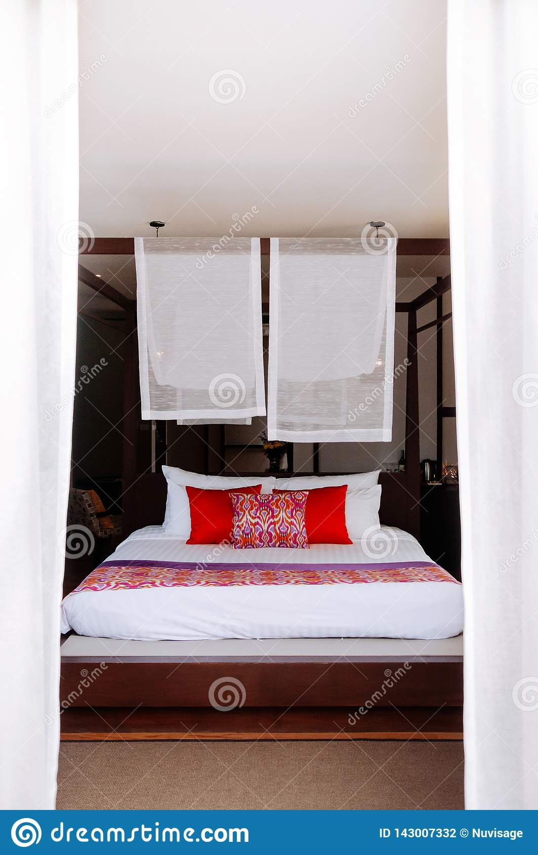 Asian Tropical Hotel Room With Four Poster Bed Editorial Photography Image Of Modern Light 143007332