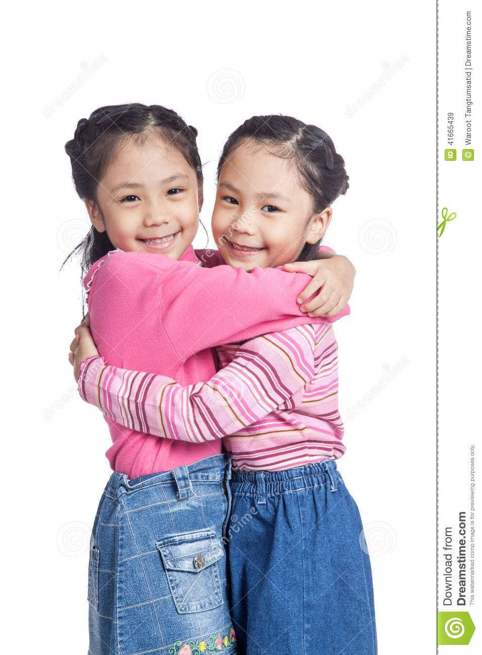 Asian Twin Sisters Hug Each Other With Love Stock Image Image Of