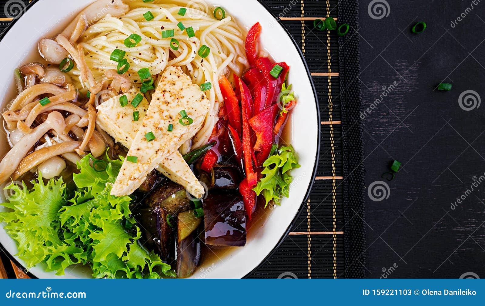 Asian Vegan Noodles Soup With Tofu Cheese Shimeji Mushrooms And Fried Eggplant Stock Image Image Of Fried Japanese 159221103