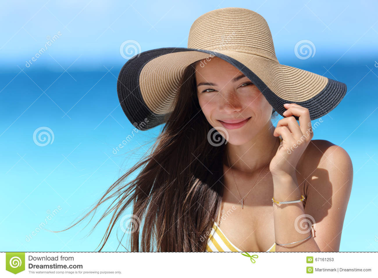 Asian Woman With Beach Hat For Face Sun Protection Stock ...