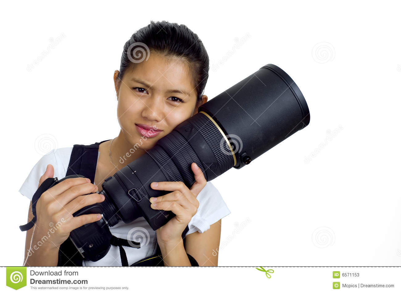Asian Woman With Cam And Tele Stock Photos - Image 6571153-7096