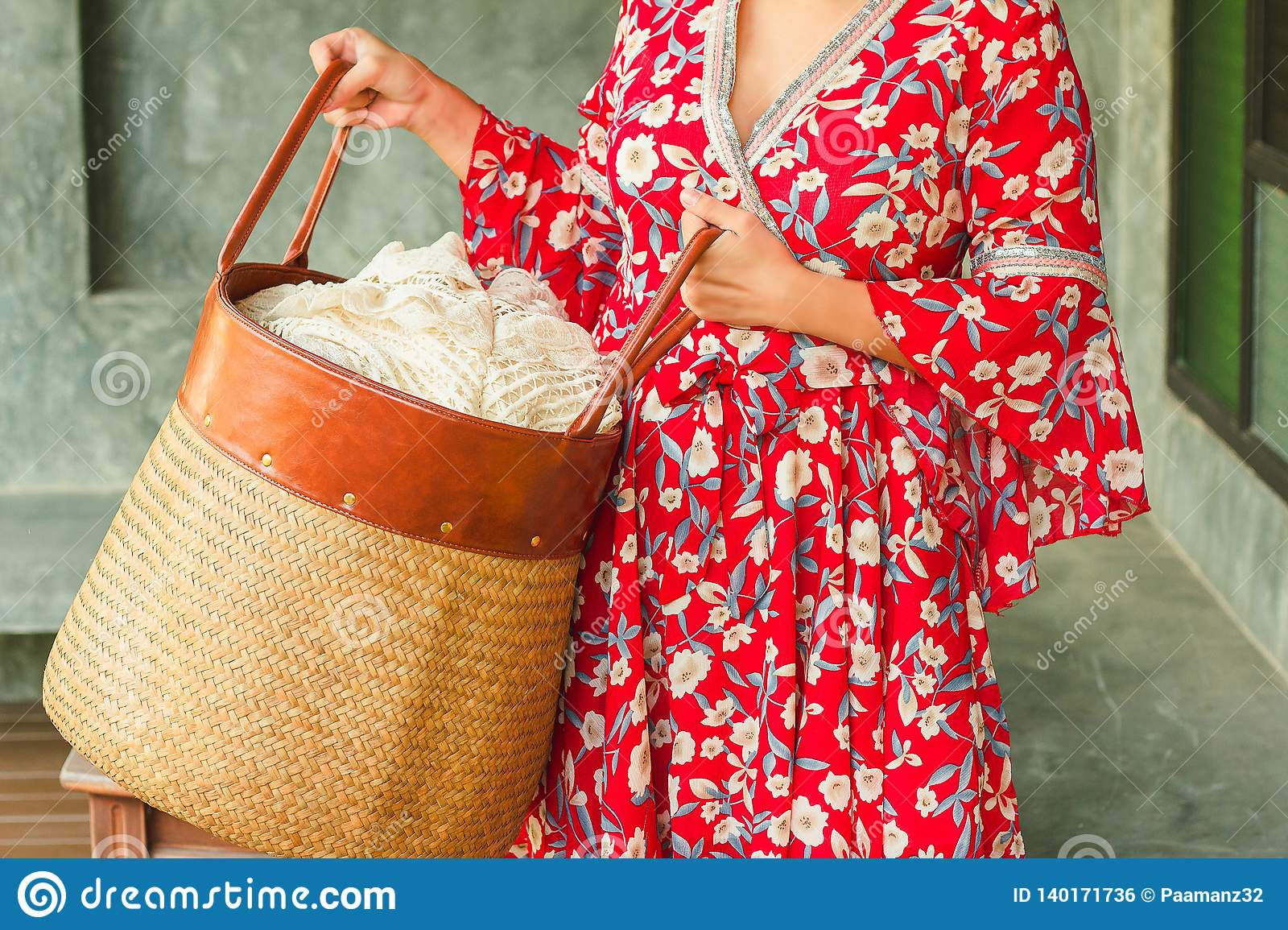 9202e558ef Asian Woman Carrying Laundry Cloth Basket Stock Photo - Image of ...