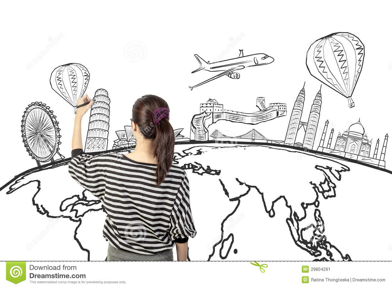 Download Asian Woman Drawing Or Writing Dream Travel Around The World Stock Image