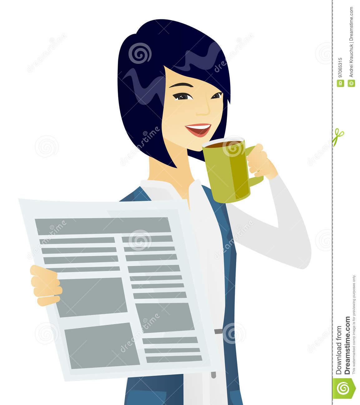asian woman drinking coffee and reading newspaper. stock vector
