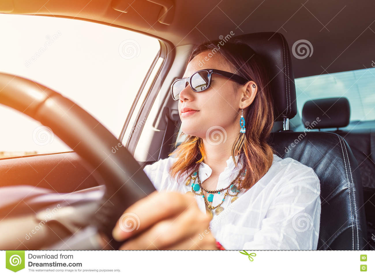 Asian lady driving