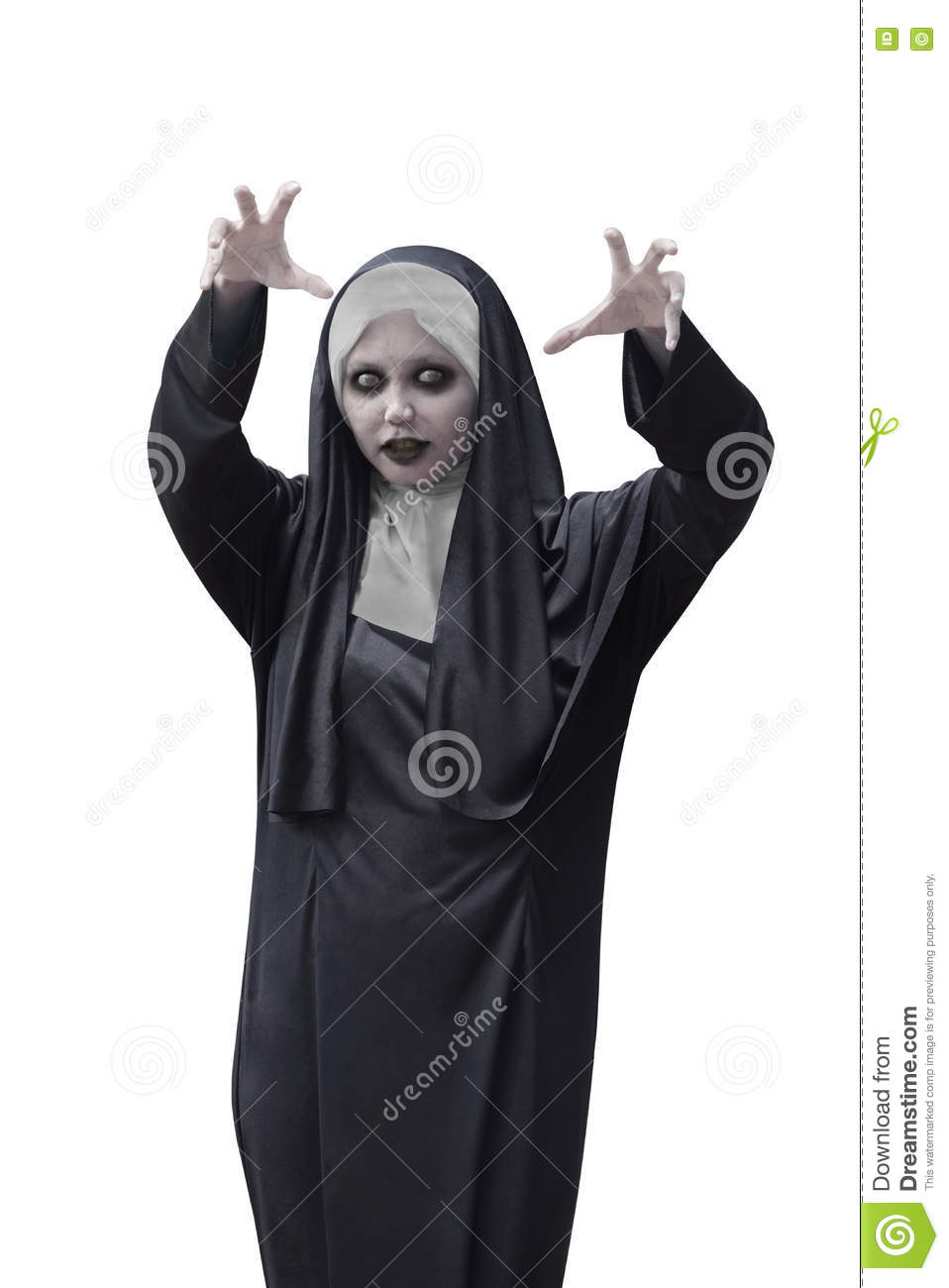 asian woman with evil nun costume stock photo - image of person
