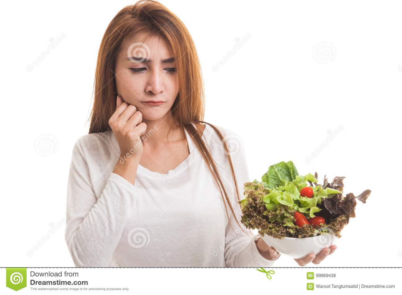 Asian woman hate salad. stock photo. Image of meal, hate