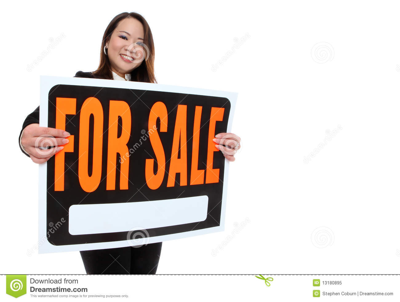 Asian Woman Holding Sale Sign 120