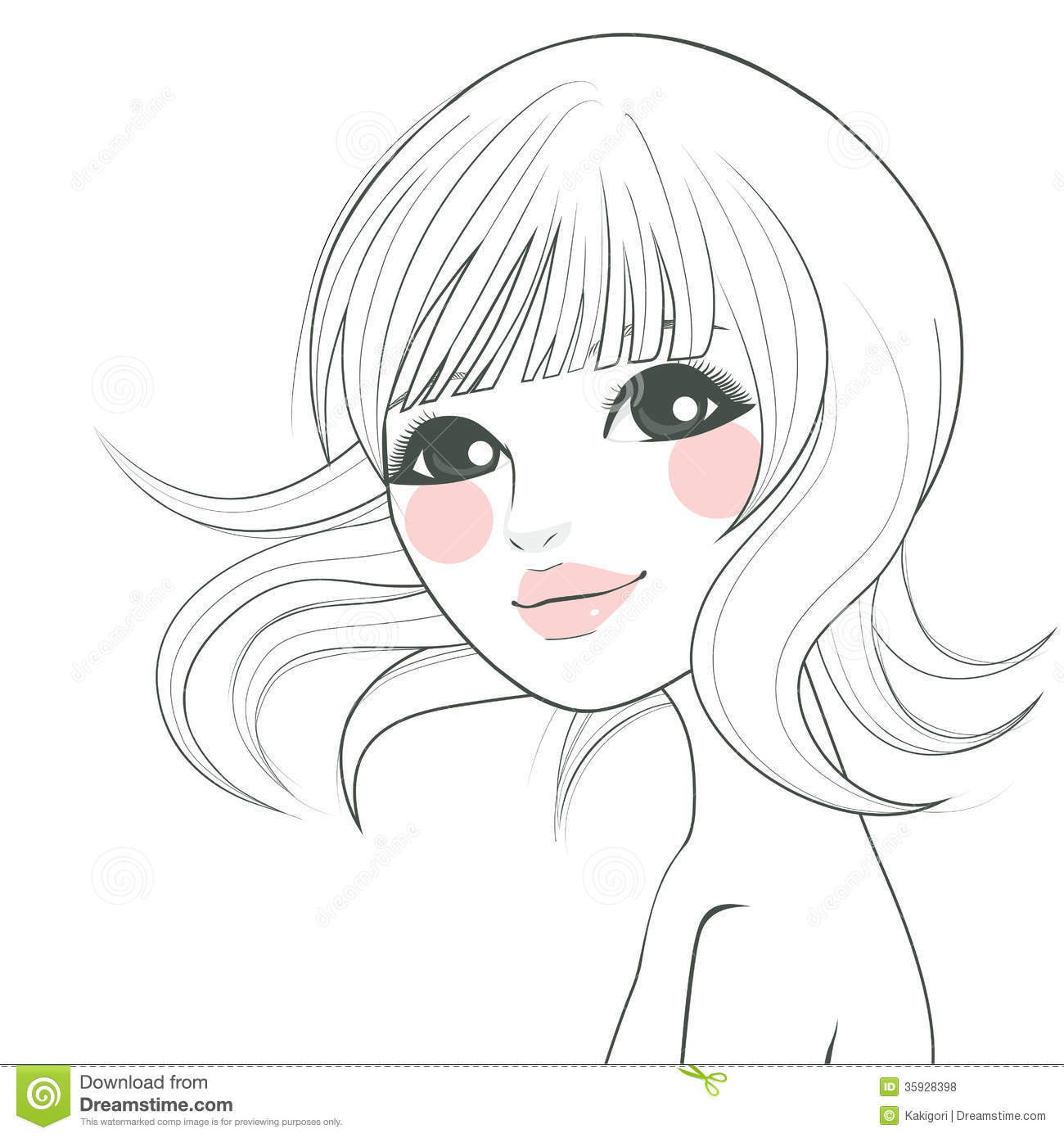Line Art Hair : Asian woman illustration stock vector of