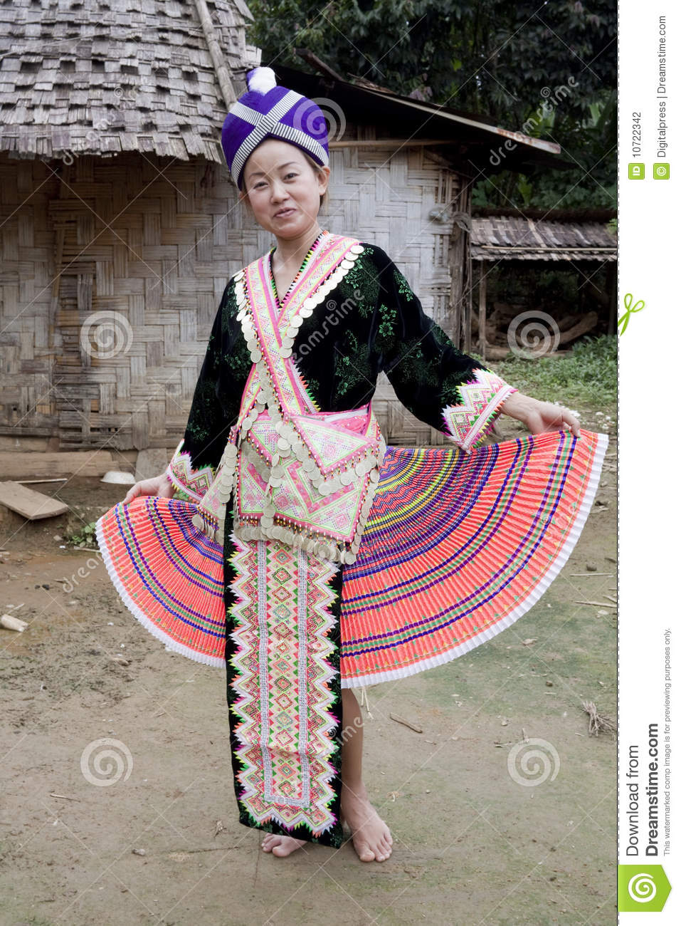 Asian Woman Laos In Traditional Clothes Hmong Stock Photo