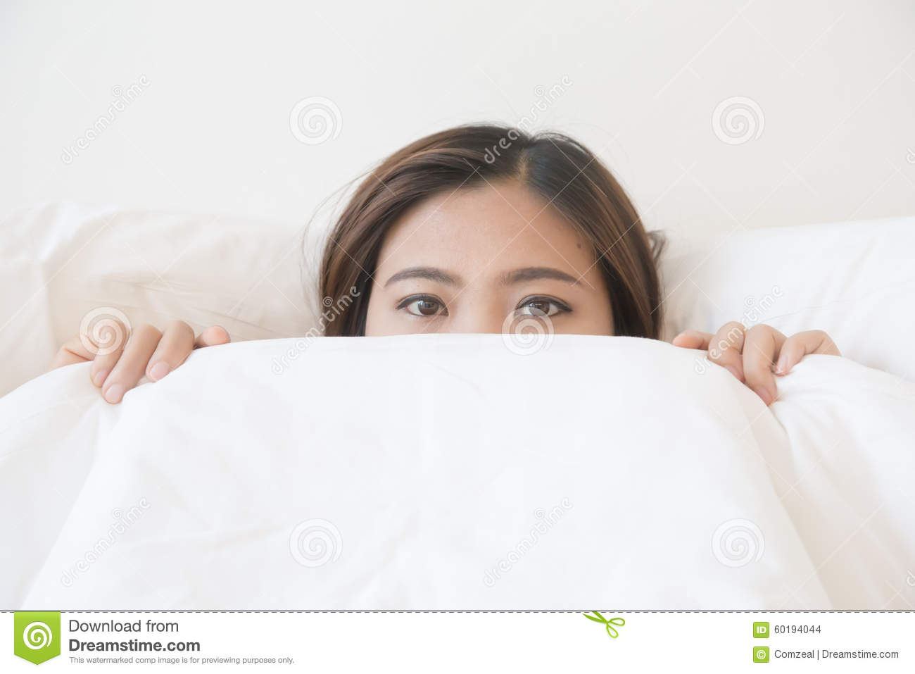 Asian Woman Lying In Bed Under Blanket Stock Photo - Image Of Girl, White 60194044-4793