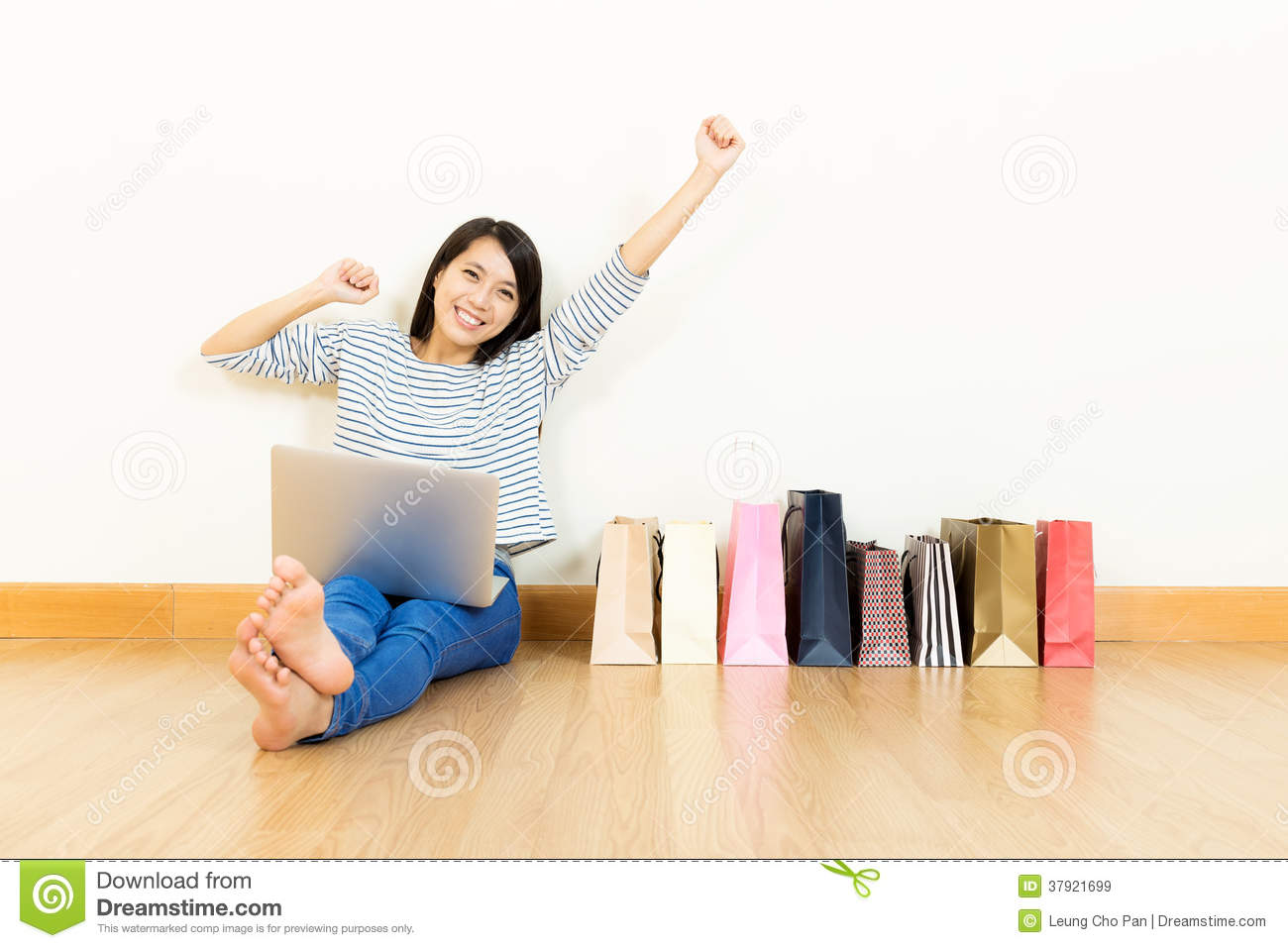 Asian Woman Online Shopping At Home With Assorted Paper ...