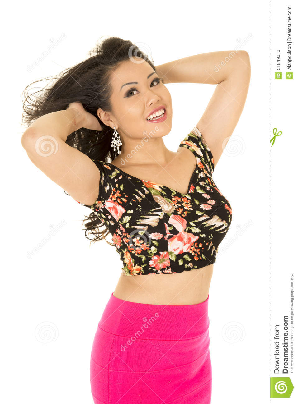 Asian Woman Pink Skirt Standing Both Hands Up Smile