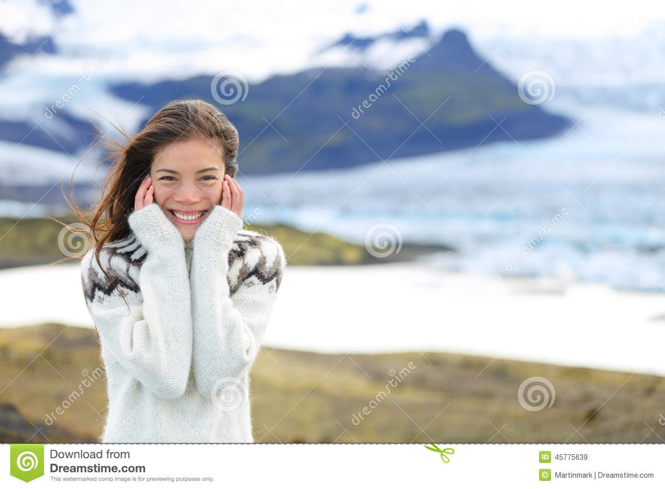 Asian Woman Portrait Sweater By Glacier On Iceland Stock
