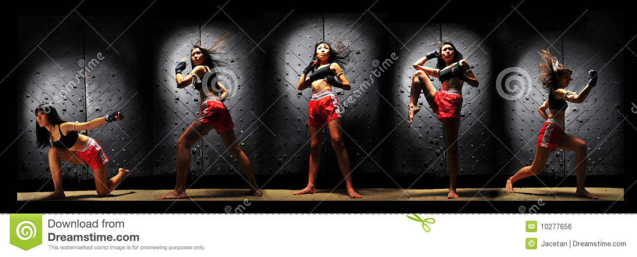 Download Asian Woman Practising Muay Thai Boxing Stock Photo - Image of strong, combo: 10277656
