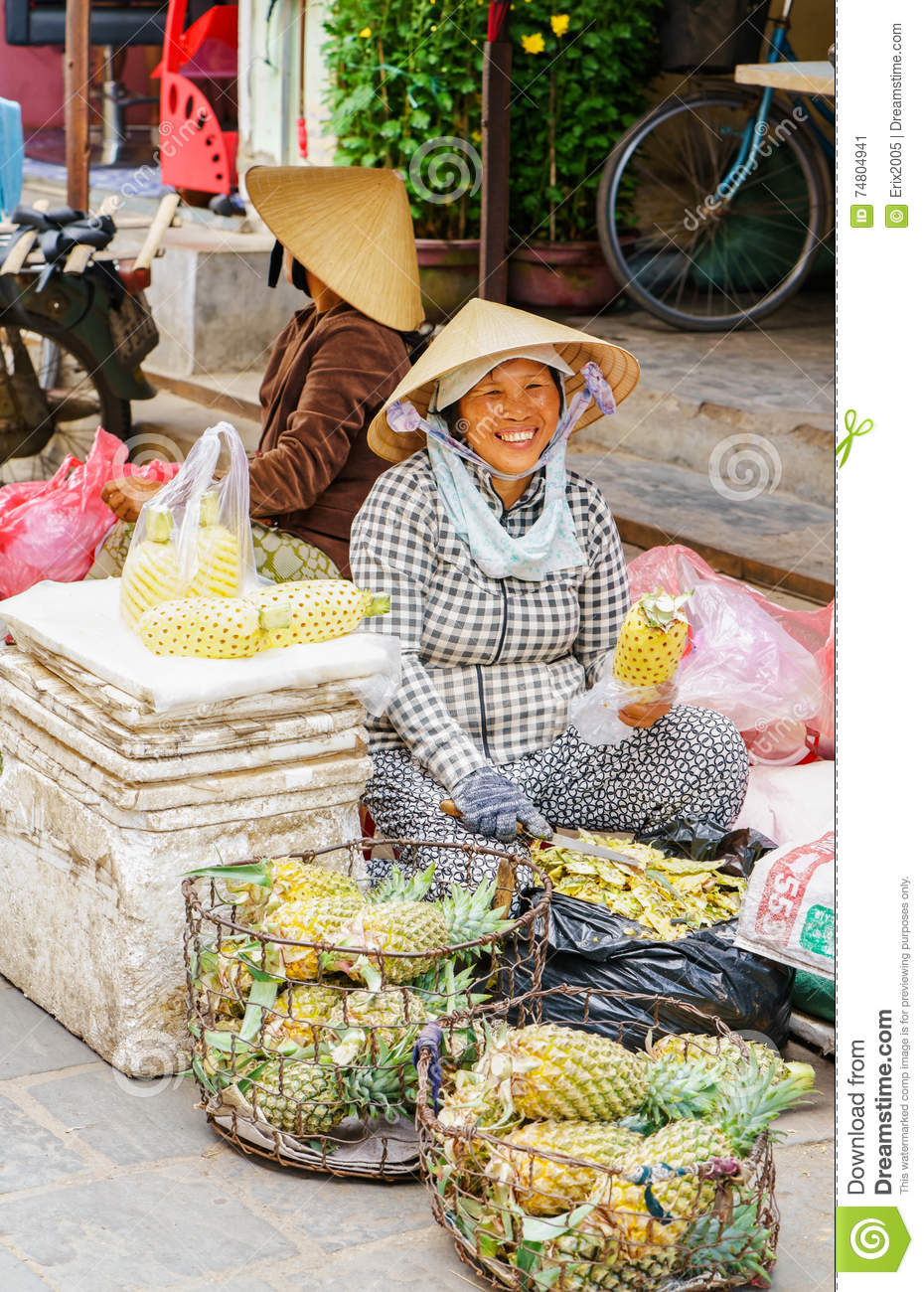 b74f968763b Asian Woman Selling Cleaned Ananas In Vietnam Editorial Photo ...