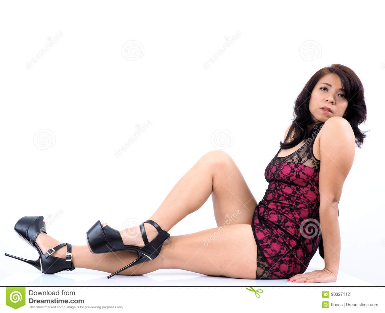 asian woman in sleepwear and high heels stock photo - image of