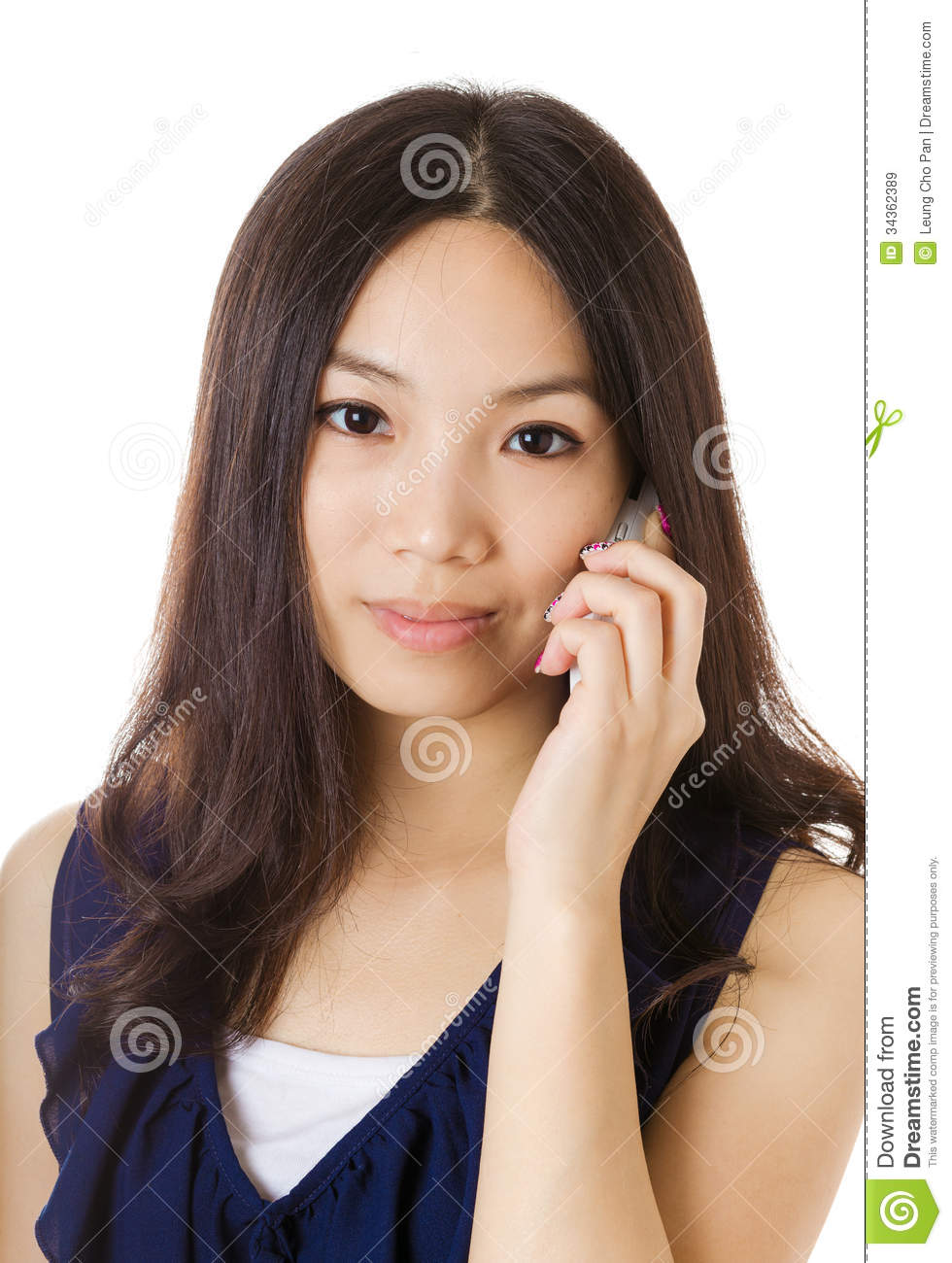 Asian woman talking with phone