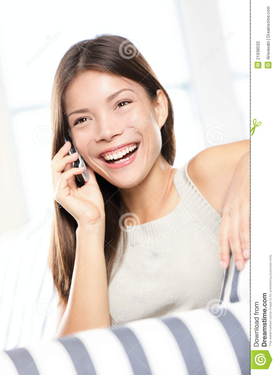 Asian Woman Talking On Smart Phone Stock Photos Image