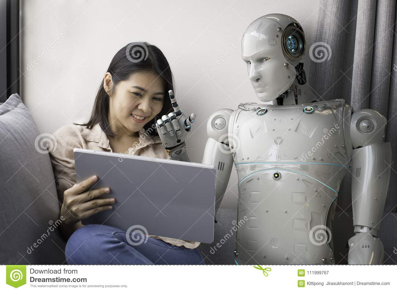 Woman with robot advisor
