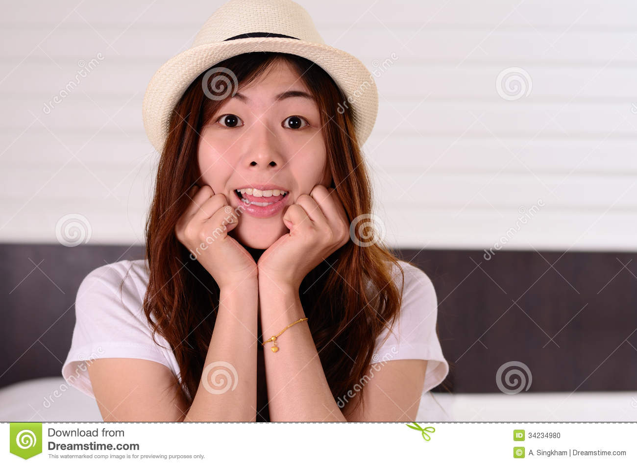 Asian woman teenager have a surprised face emotion