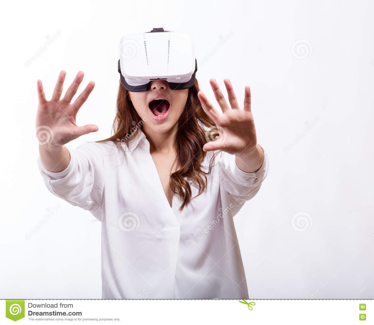 Asian woman in virtual reality headset