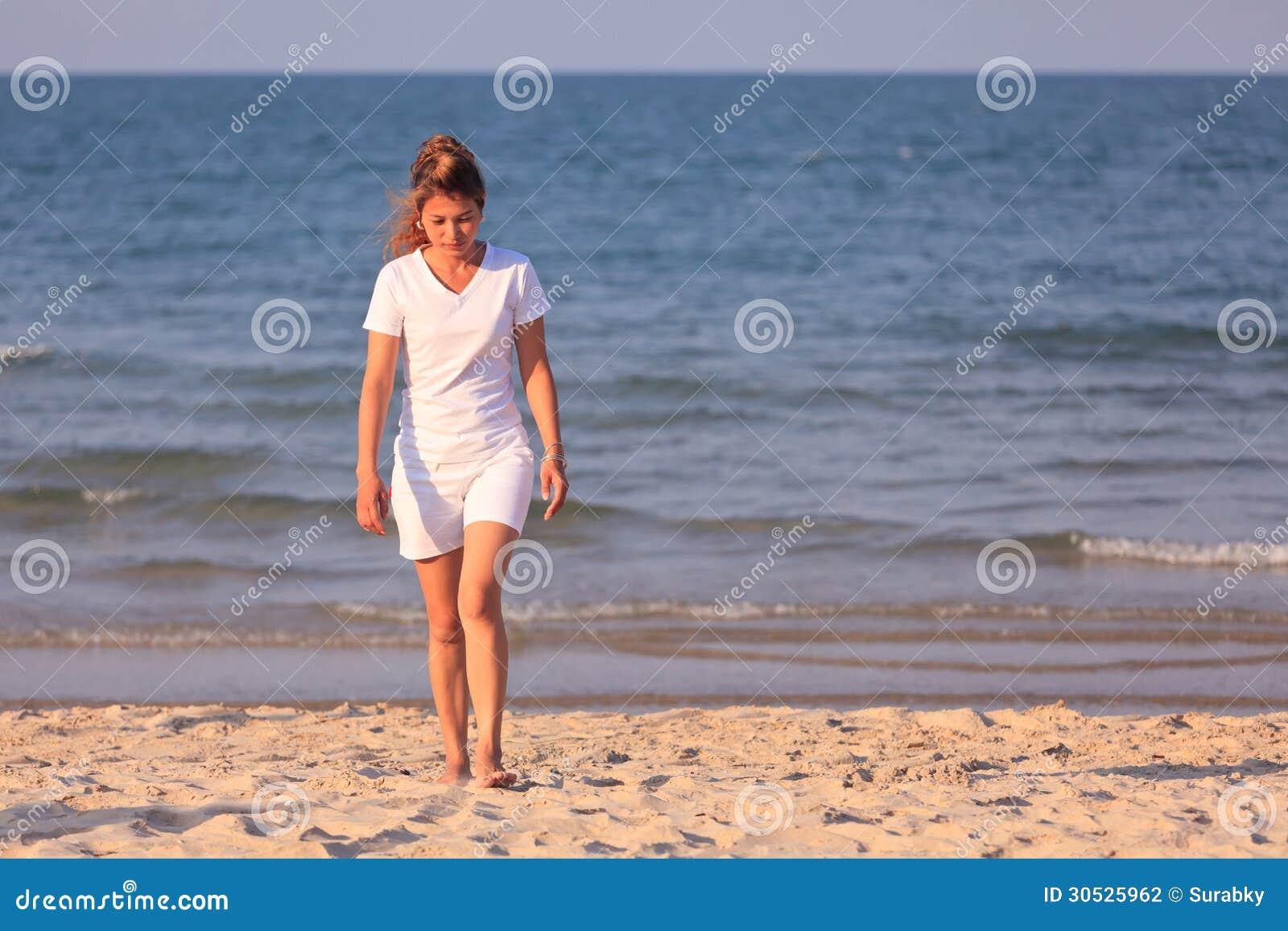 Asian Woman Walking On Beach Stock Photography - Image ...
