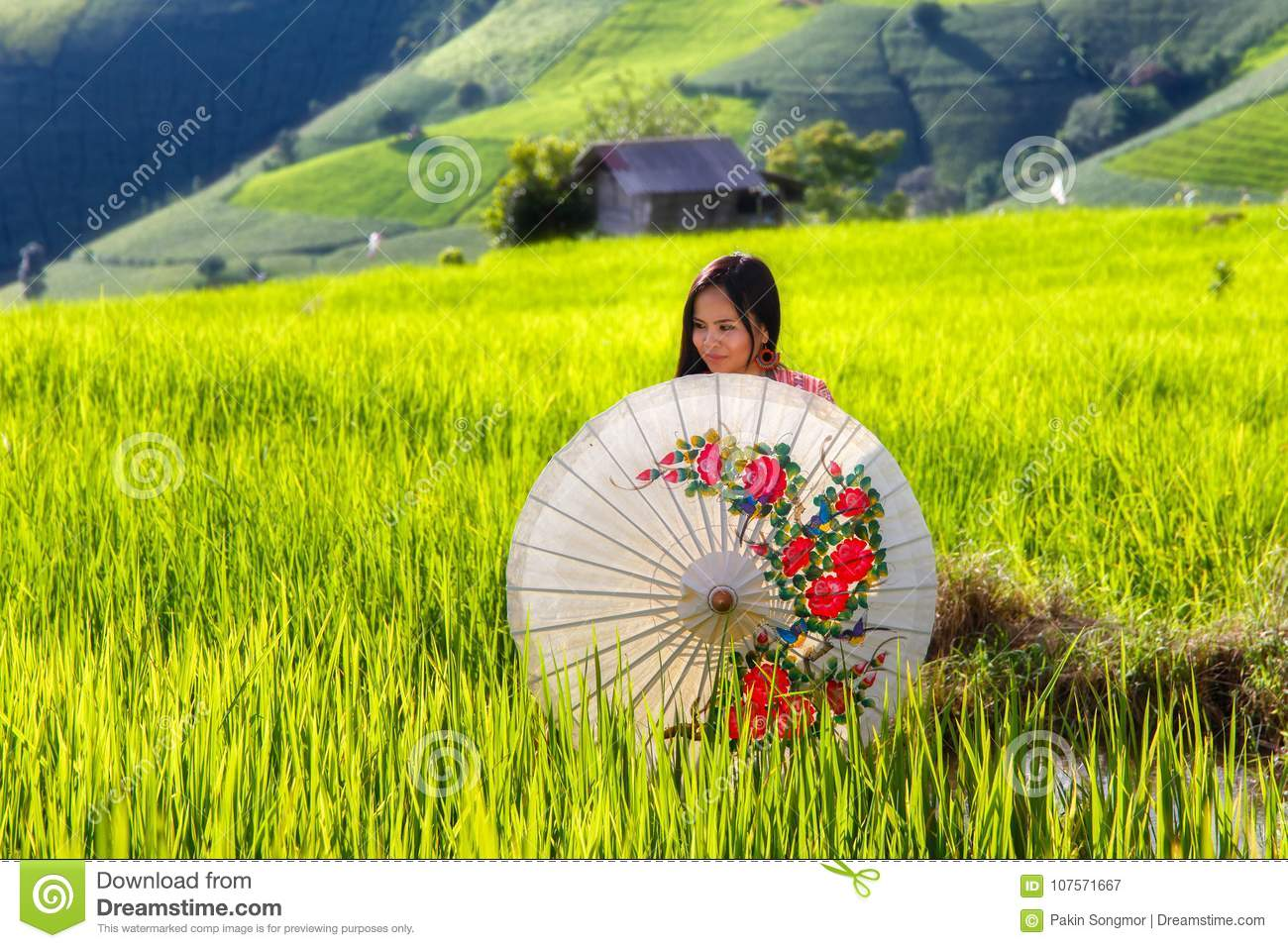 f7fa5fc9c Asian woman wear traditional costume sitting in terrace rice farm with countryside  background at Pa Pong