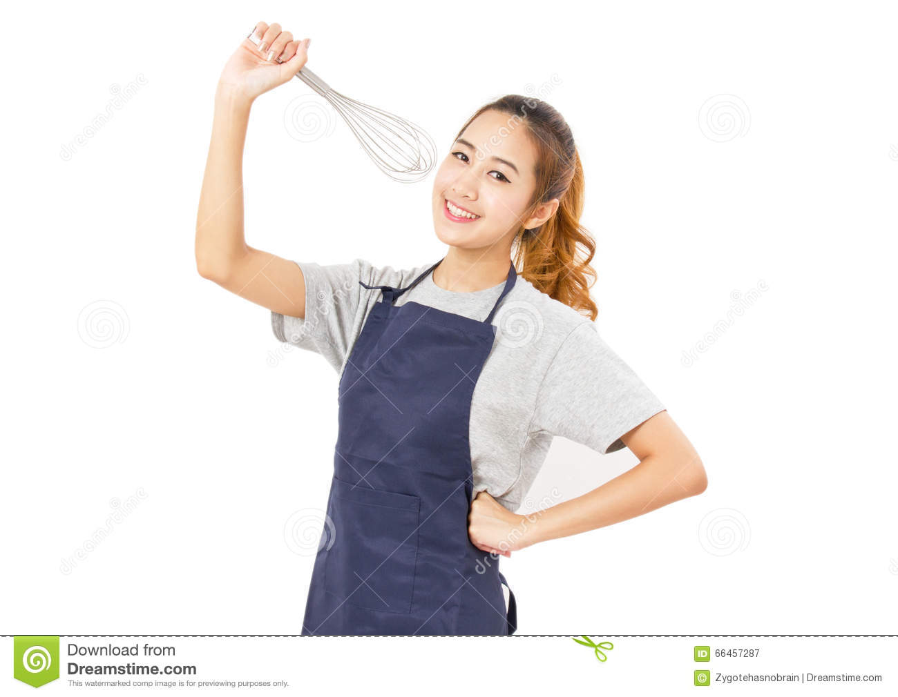 eddef90279b29a Asian Woman Wearing Apron And Singing With Whisk. Stock Image ...