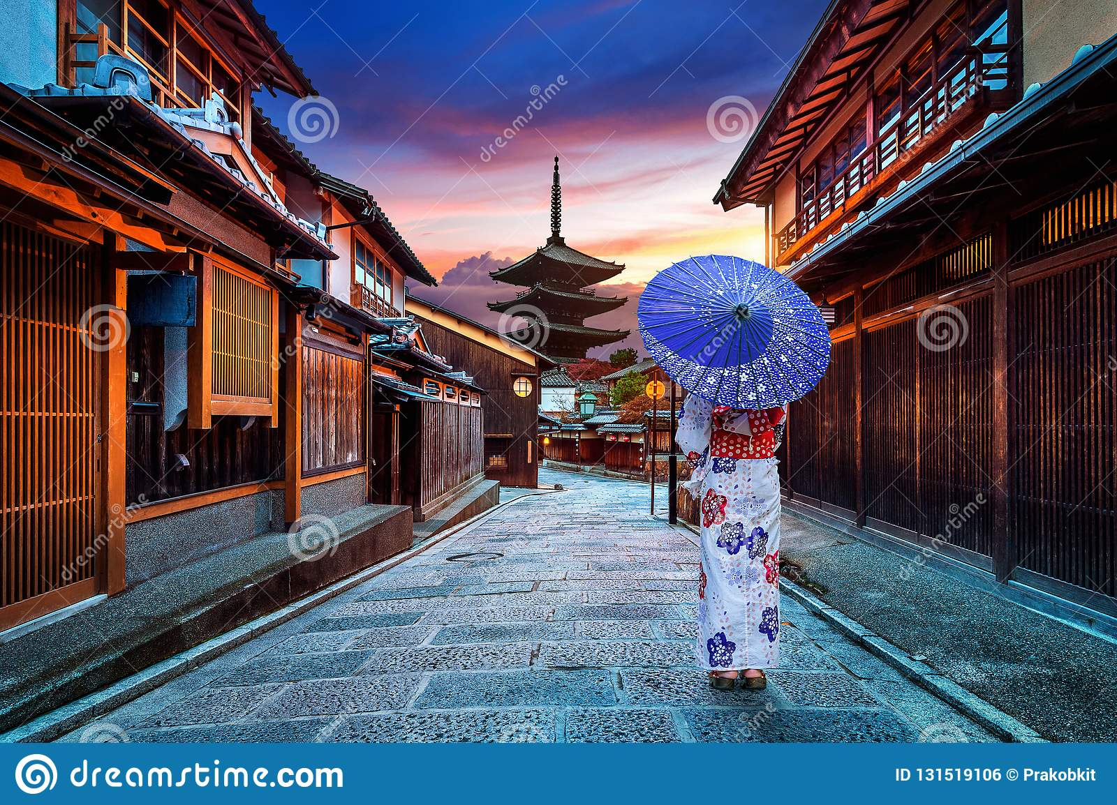 Asian woman wearing japanese traditional kimono at Yasaka Pagoda and Sannen Zaka Street in Kyoto, Japan