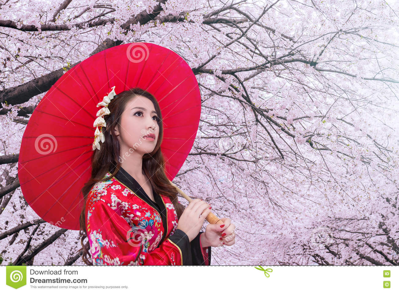 6aff10e7895d2 Asian Woman Wearing Traditional Japanese Kimono With Red Umbrella ...