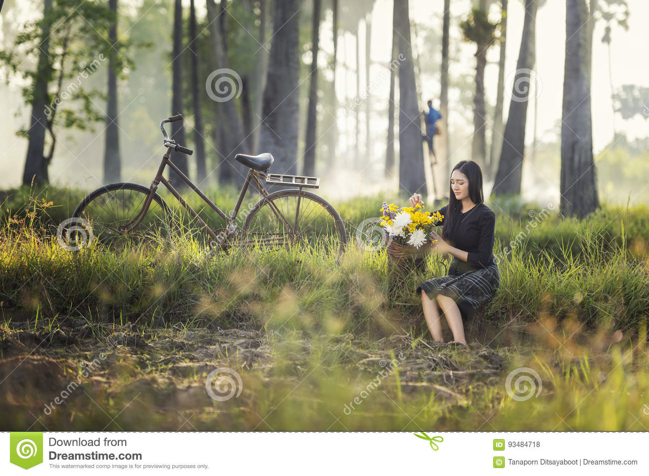 Asian woman wearing traditional thai culture,in field,vintage style