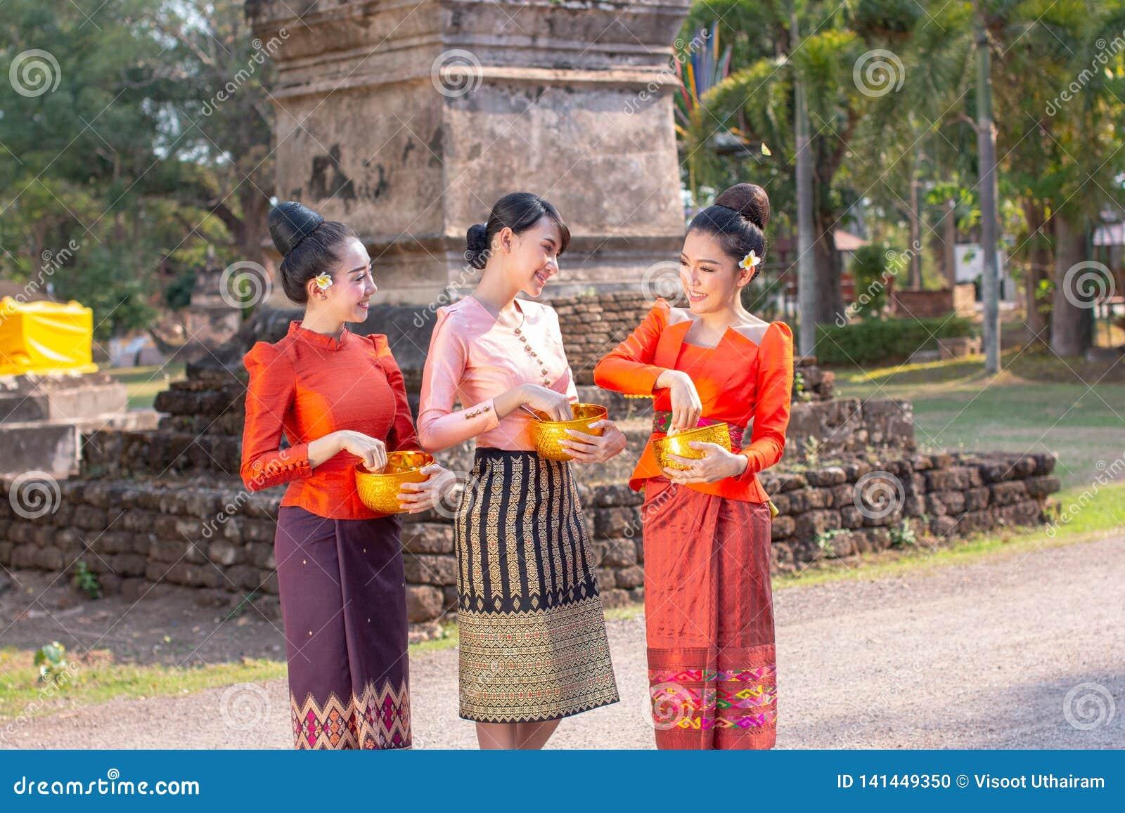 Beautiful Thai Woman Wearing Thai Traditional Stock Photo