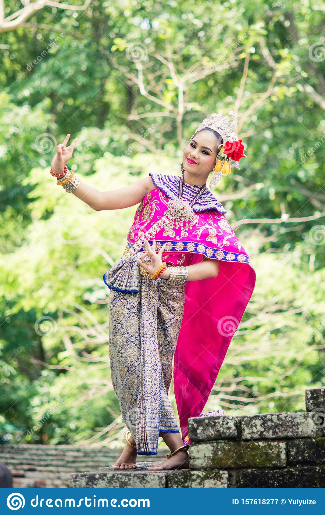 Asian Woman Wearing Typical, Traditional Thai Dress. Stock