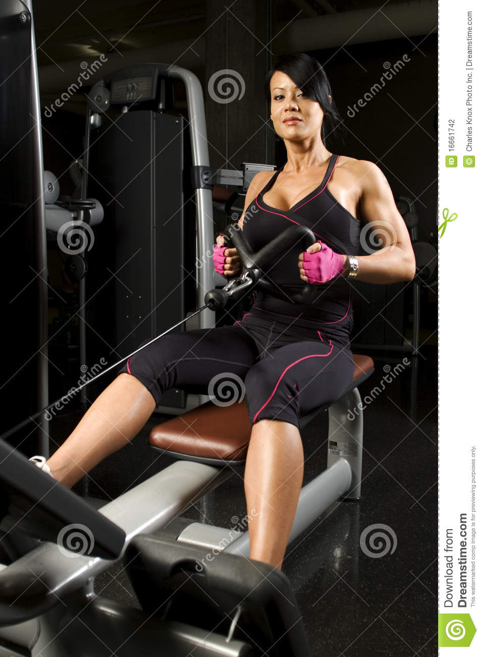 Asian Woman Working Out On Rower Stock Photo - Image Of -3249
