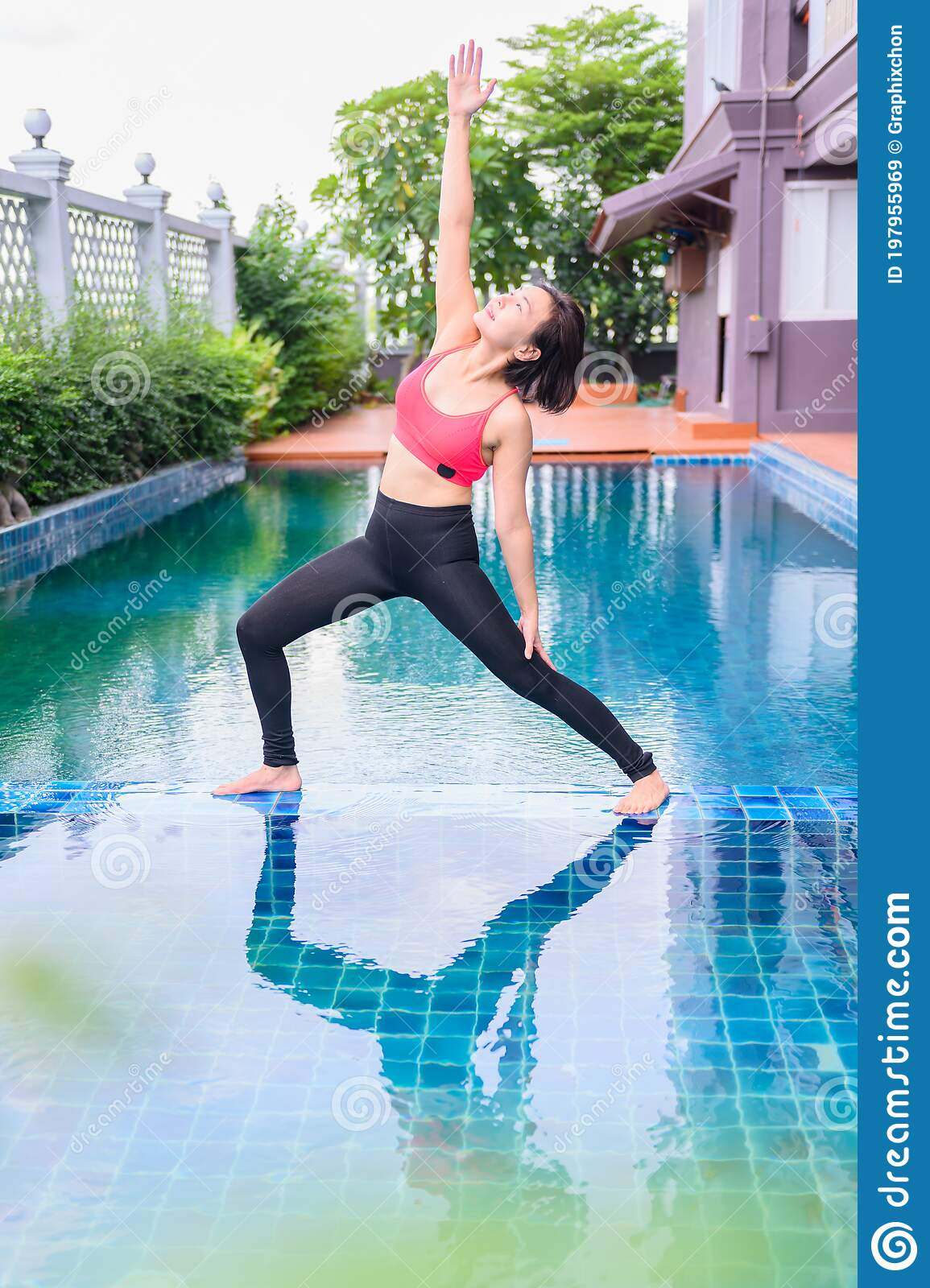 Asian Woman Yoga Breathing And Meditation Alone At Swimming Pool At Home Outdoor Exercise And Workout For Healthy Stock Image Image Of Asian Care 197955969