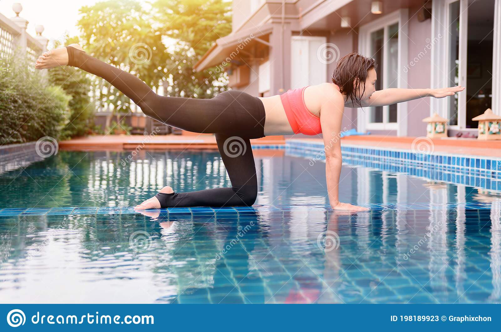 Asian Woman Yoga Breathing And Meditation Alone At Swimming Pool At Home Outdoor Exercise And Workout For Healthy Stock Image Image Of Alone Recreation 198189923