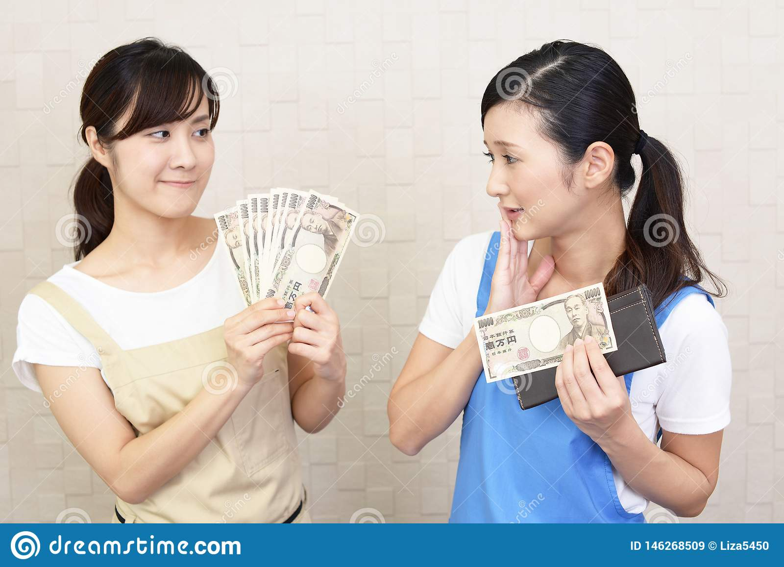 Asian women with money