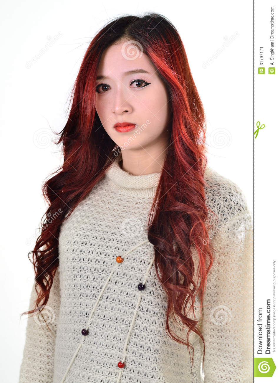 Asian Women Red Long Hair In Modern Fashion Stock Image