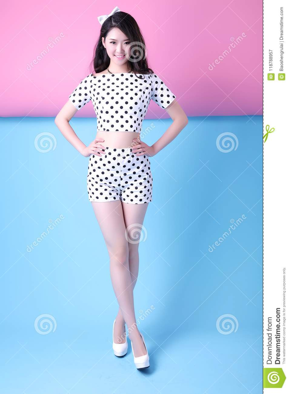 Asian Women S Spotted Summer Wear Stock Image Image Of People Cute 118788957