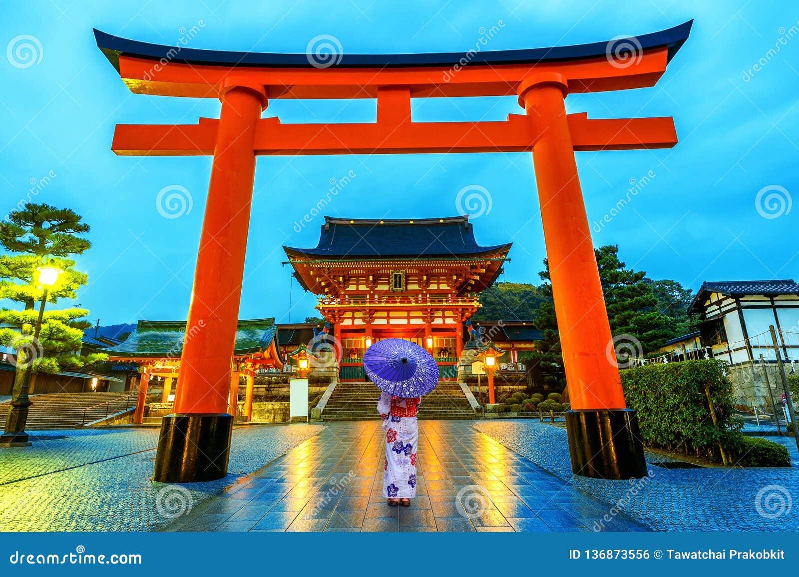 Asian women in traditional japanese kimonos at Fushimi Inari Shrine in Kyoto, Japan