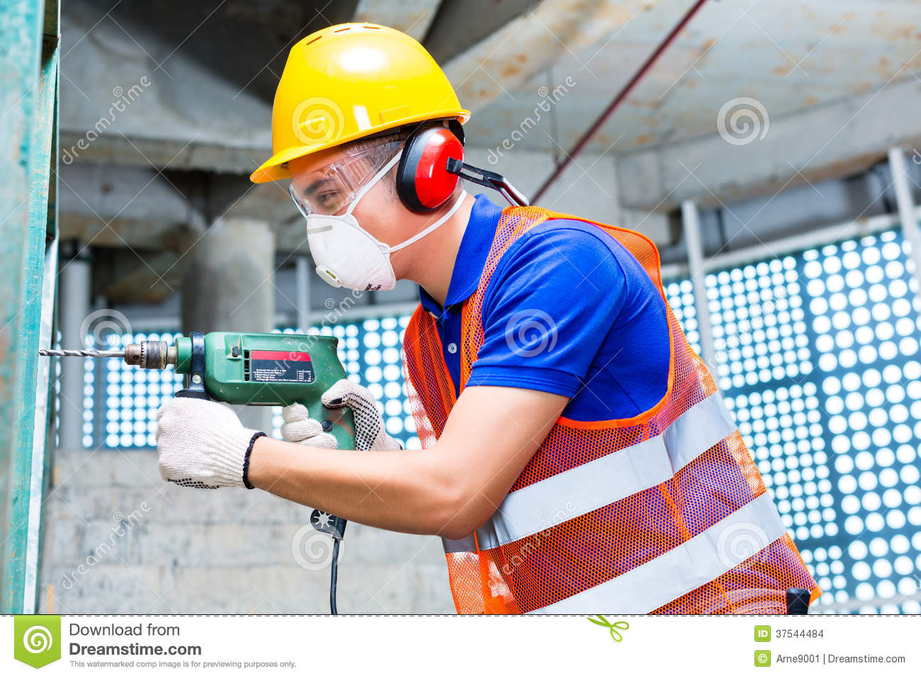 Asian Worker Drilling In Construction Site Wall Stock ...  Asian Worker Dr...