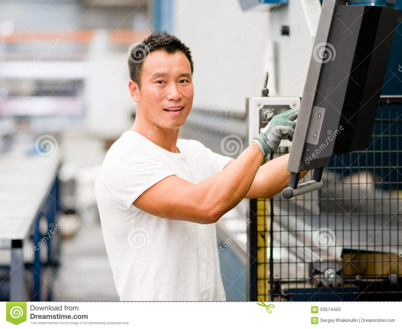 Asian worker in production plant on the factory